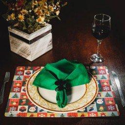 kit jogo americano natal colorido guardanapo verde portaguardanapo mdecore kjg0017