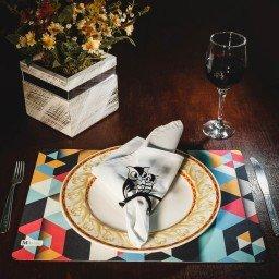 kit jogo americano geometrico colorido guardanapo branco portaguardanapo coruja mdecore kjg0018