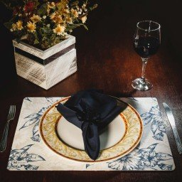 kit jogo americano floral bege guardanapo azul portaguardanpo rosa mdecore kjg0019