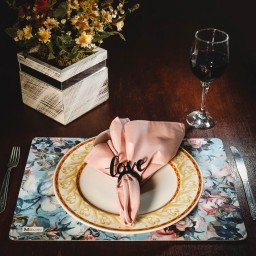 kit jogo americano floral azul guardanapo rosa portaguardanapo love mdecore kjg0020