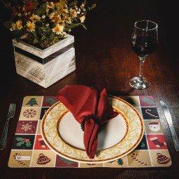 kit jogo americano natal colorido guardanapo vermelho portaguardanapo mdecore kjg0023