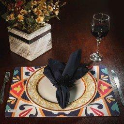 kit jogo americano azulejo colorido guardanapo preto portagurdanapo mdecore kjg0025