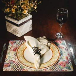 kit jogo americano geometrico floral colorido guardanapo bege portaguardanapo borboleta mdecore kjg0031
