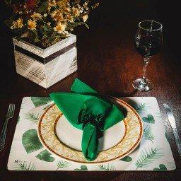 kit jogo americano folhas verde guardanapo verde portaguardanapo love mdecore kjg0032