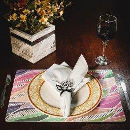 kit jogo americano abstrato colorido guardanapo branco portaguardanapo rosa mdecore kjg0033
