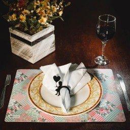 kit jogo americano floral rosa guardanapo branco portaguardanapo mdecore kjg0034