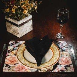 kit jogo americano geometrico floral colorido guardanapo preto portaguardanapo mdecore kjg0037