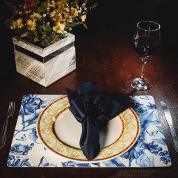 kit jogo americano floral azul guardanapo marinho portaguardanapo borboleta mdecore kjg0042