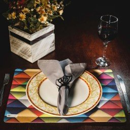 kit jogo americano geometrico colorido guardanapo cinza portaguardanapo borboleta mdecore kjg0043