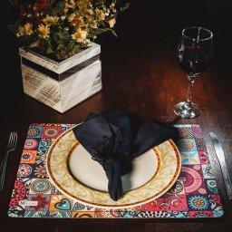 kit jogo americano mandala colorido guardanapo preto portaguardanapo mdecore kjg0047