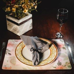 kit jogo americano floral rosa guardanapo cinza portaguardanapo amor mdecore kjg0048