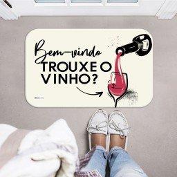 tapete decorativo bege bem vindo trouxe vinho mdecore tpr0017 2