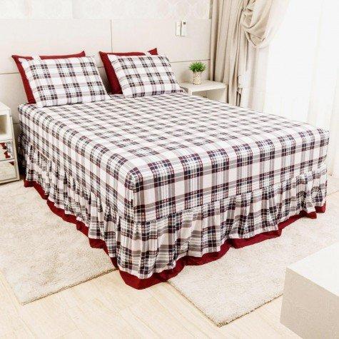 lencol colcha de casal com elastico xadrez bordo 158x198cm lec0001 158 1
