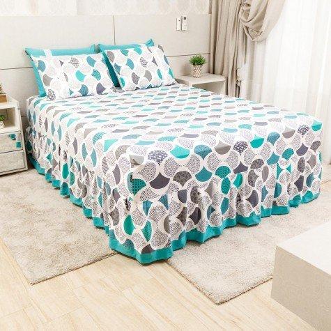 lencol colcha de casal com elastico abstrato turquesa 158x198cm lec0003 158 1