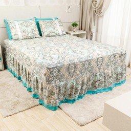 lencol colcha de casal com elastico abstrato bege escuro 158x198cm lec0004 158 1