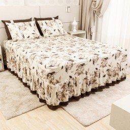 lencol colcha de casal com elastico folhas marrom 158x198cm lec0005 158 1