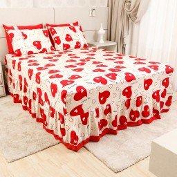 lencol colcha de casal com elastico coracoes vermelho 158x198cm lec0006 158 1