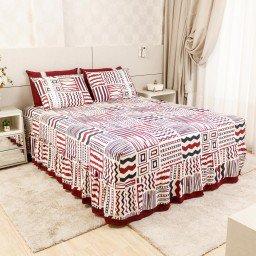 lencol colcha de casal com elastico geometrica bordo 158x198cm lec0007 158 1