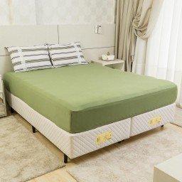 jogo de lencol casal 100 algodao 3 pecas liso verde musgo jlc0003 1