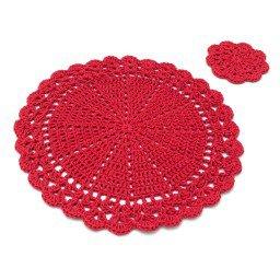 jogo americano porta copo croche redondo vermelho jac0008