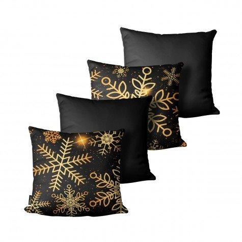 kit almofada natal estrelas preto dourado mdecore nat4051 kit 4