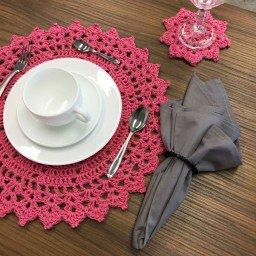 jogo americano croche rosa ponta triangulo mdecore