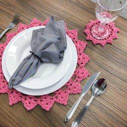 jogo americano croche rosa pontudo porta copo mdecore jac0016