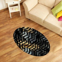 tapete oval decorativo folhas chevron preto tpov0006 2