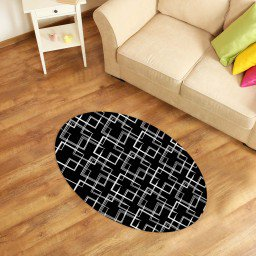 tapete oval decorativo abstrato preto tpov0008 2