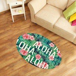 tapete oval decorativo aloha turquesa verde tpov0014 2