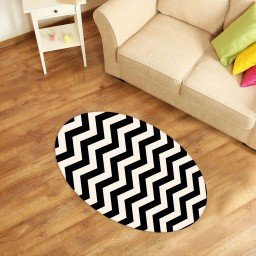tapete oval decorativo chevron preto tpov0020 2