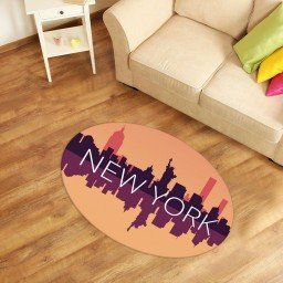 tapete oval decorativo new york laranja tpov0031 2