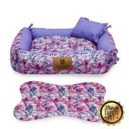 caminha dupla face para cachorro flores tapete pet roxo rosa cdf1006 5