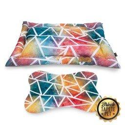 colchonete para cachorro tapete pet geometrico azul rosa cht1015 2