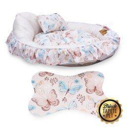 berco para cachorro borboletas tapete pet rosa claro cbb1020 4