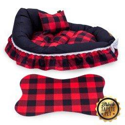 berco para cachorro xadrez tapete pet vermelho cbb1002 4