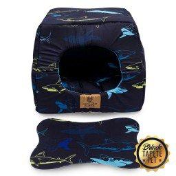 toca para cachorro gato caminha tapete pet tubarao azul escuro toc1003 3
