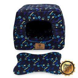 toca para cachorro gato tapete pet caminha abstrato azul escuro toc1004 3