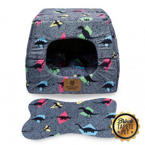 toca para cachorro gato tapete pet caminha dinossauro rosa cinza toc1006 3