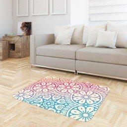 tapete floral mandala azul rosa bege tpdec0023 3