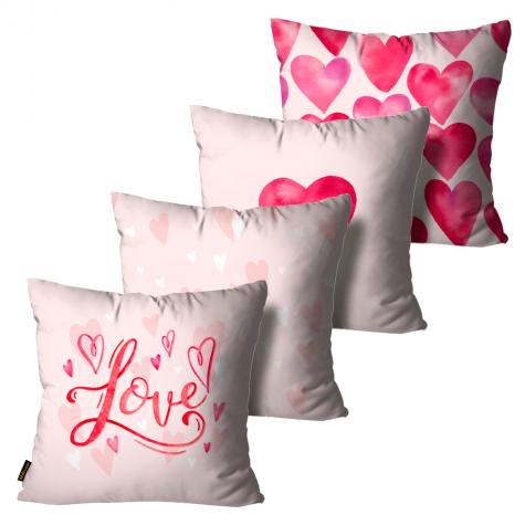 kit almofada presente cute love rosa kit4 55 x 55 alp2004