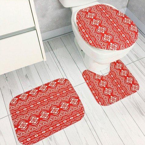 jogo de banheiro arabesco vermelho tpb0042 kit