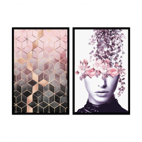 kit quadros pink and gray abstract 40 x 60 qua4001