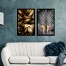 kit quadros folhas douradas 2cm 40 x 60 qua2007 2 pt