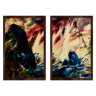 kit quadros paisagem estilo pintura a oleo 2cm 40 x 60 qua2006 tb