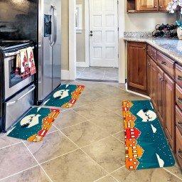 kit tapetes de cozinha papai noel e renas 40 x 60 e 120 x 40 azul tpc0187 easy resize com