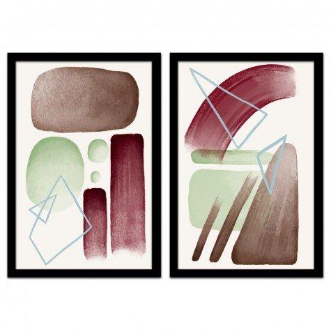 kit 2 quadros emoldurados geometrico colorido 4cm qua2035 60x90 pt