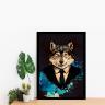 quadro emoldurado lobo envelhecido 40 x 60 2cm qua1072 2 pt