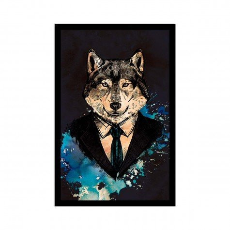 quadro emoldurado lobo envelhecido 40 x 60 2cm qua1072 pt